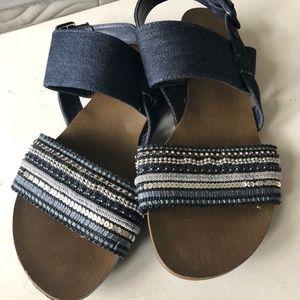 Nine West Beaded Denim Sandals Size 9